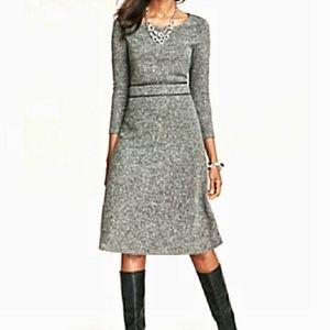 TALBOTS Tweed Vegan Leather A Line Dress 4 Petite